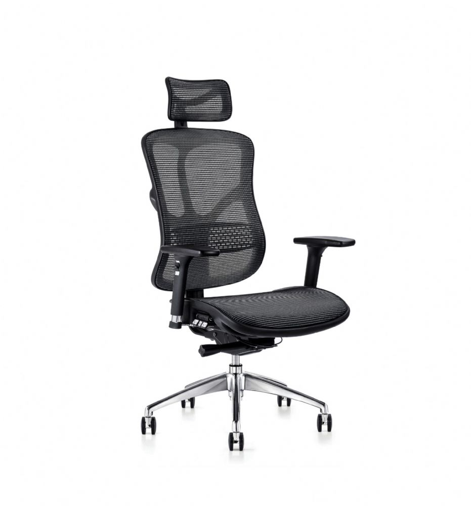 F94 101 Series Ergonomic Chair By Hood Seating In Black Mesh With 3D Arms And Synchronised Mechanism